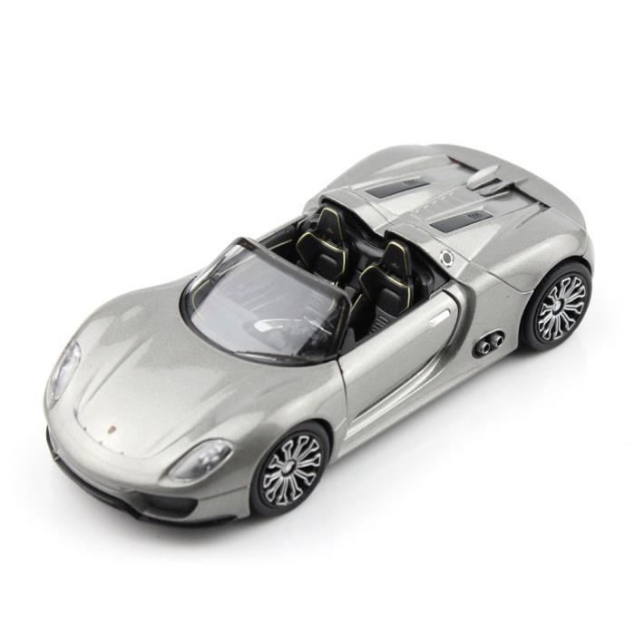 haut de gamme welly porsche 918 spyder gris 5 chelle 1 34 43642cw mini voiture de. Black Bedroom Furniture Sets. Home Design Ideas
