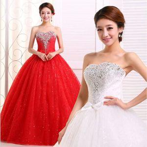 ROBE DE MARIÉE La robe de mariée coréen de queue rouge white red