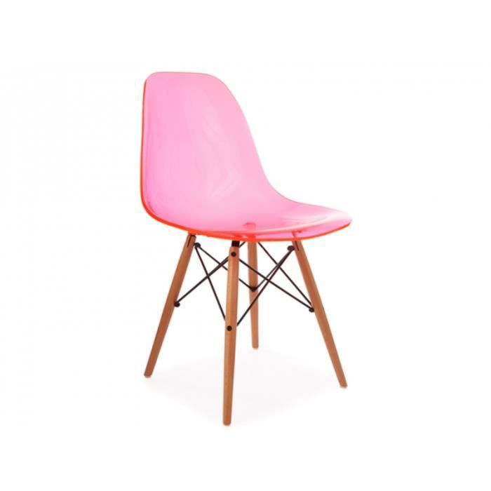 Chaise dsw rose transparent achat vente chaise rose for Soldes chaises dsw