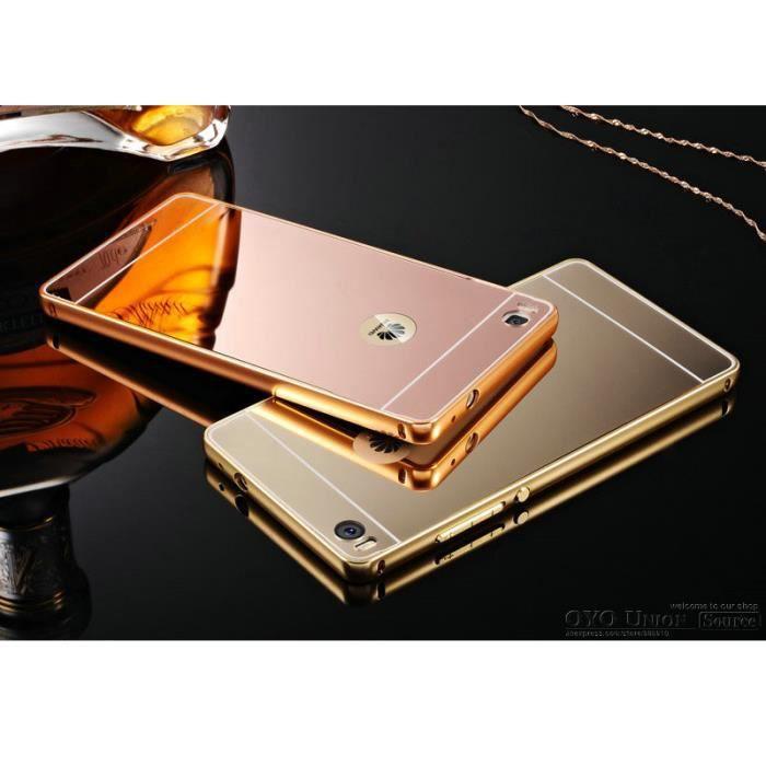 miroir housse coque bumper pour huawei p8 lite or rose achat coque bumper pas cher avis et. Black Bedroom Furniture Sets. Home Design Ideas