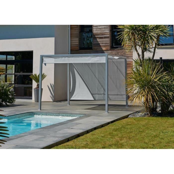 Pergola brise soleil en alu 3x3m avec rideaux gris achat vente pergola pergola 2 stores for Pergola aluminium design