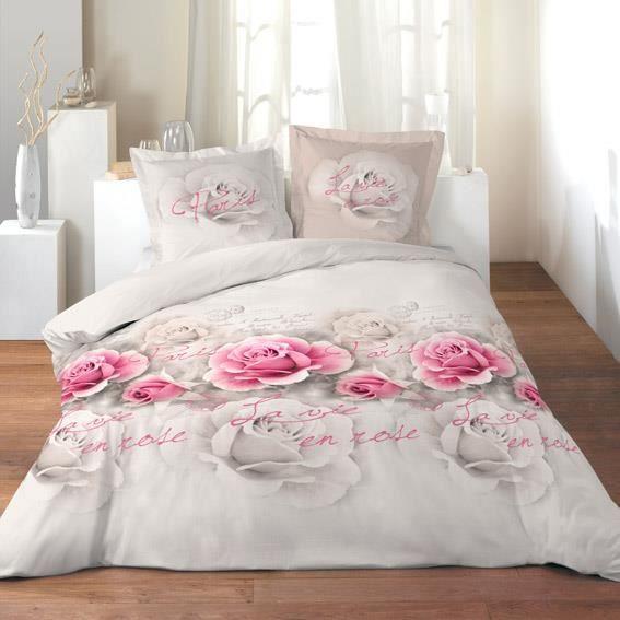 Parure de draps 4 pi ces xl la vie en rose achat vente for Housse 3ds xl reine des neiges