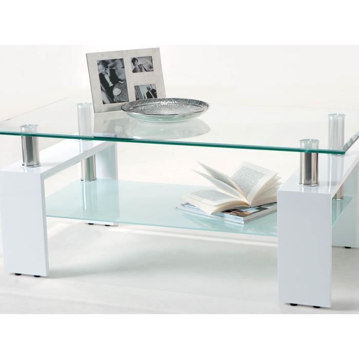 Table basse cyber 110 x 60 x 45 cm blanc achat for Table basse 60 cm