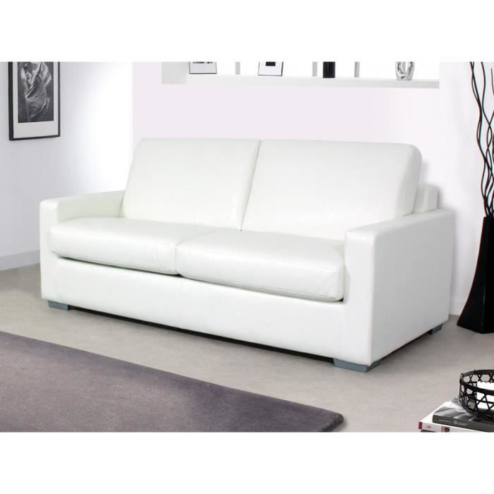 Canap convertible michigan couchage140x190cmblanc achat vente - Cdiscount soldes canape ...