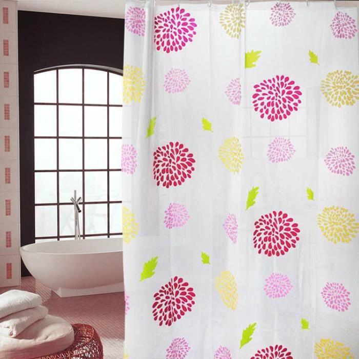 rideau de douche galet imperm able rideau de salle de bains etanche avec des anneaux crochets. Black Bedroom Furniture Sets. Home Design Ideas