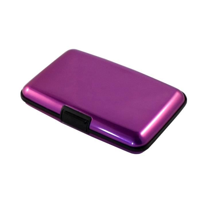porte carte credit visite aluminium lisse violet violet achat vente porte carte porte carte. Black Bedroom Furniture Sets. Home Design Ideas