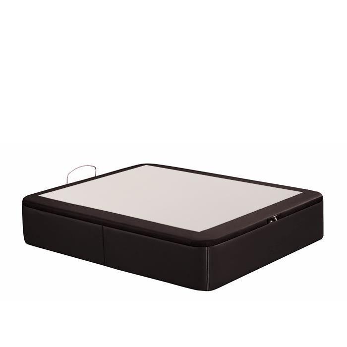 lit coffre dop 80x190 simili cuir marron tatami tapiss achat vente lit complet lit coffre. Black Bedroom Furniture Sets. Home Design Ideas