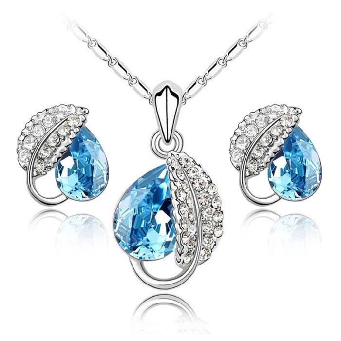 parure bijoux feuille cristal turquoise swarovski l ments turquoise achat vente parure. Black Bedroom Furniture Sets. Home Design Ideas