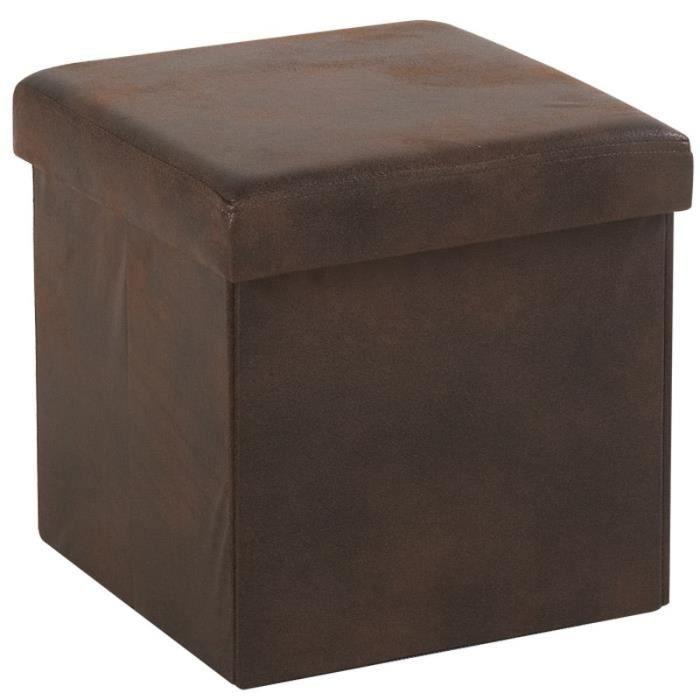 pouf multifonctions marron simili cuir achat vente. Black Bedroom Furniture Sets. Home Design Ideas