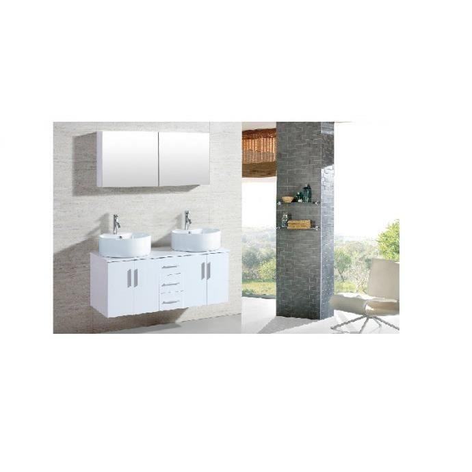 Le maia blanc ensemble meuble de salle de bain 2 for Ensemble meuble salle de bain cdiscount