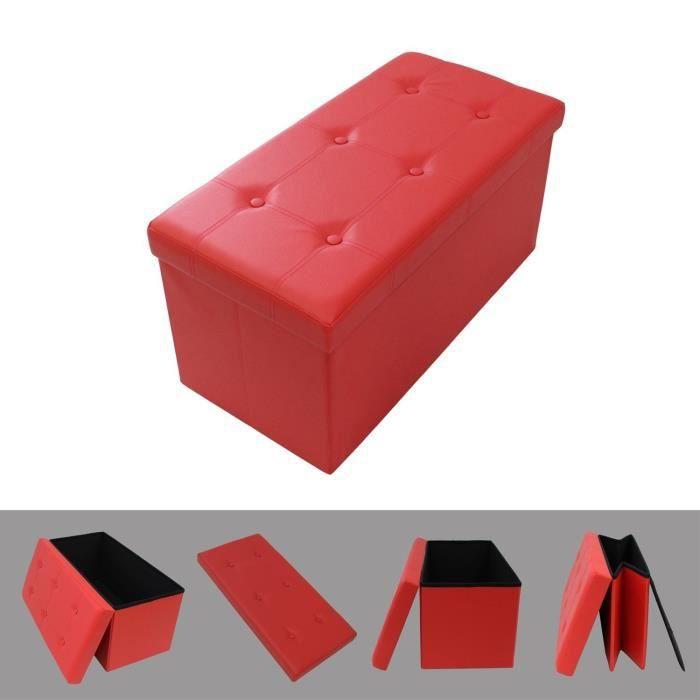 Pouf coffre de rangement pliable rouge 76x38x38cm tabouret simili cuir l g - Coffre de rangement pouf ...