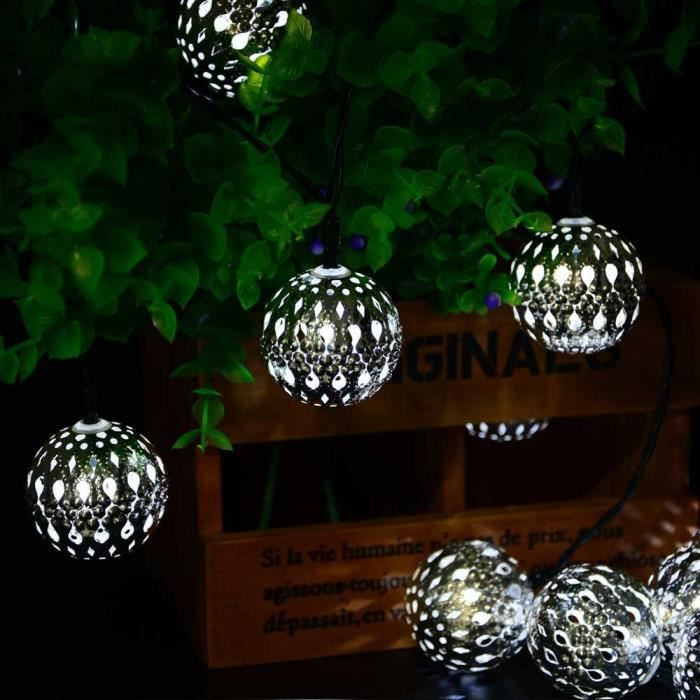 Ledertek guirlande lumineuse solaire de boule marocaine 3 - Guirlandes lumineuses exterieures solaires ...