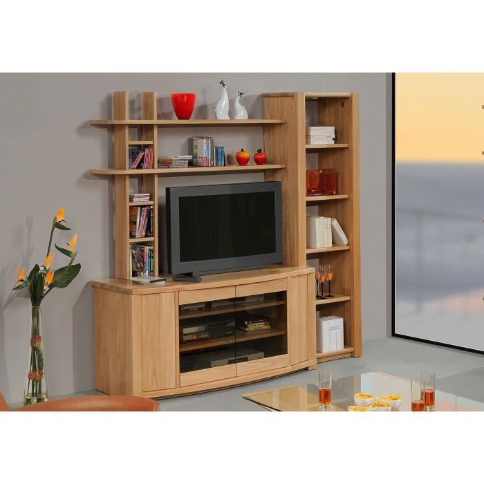 Meuble t l olympe 4p orme massif orme weng achat for Meuble tele wenge