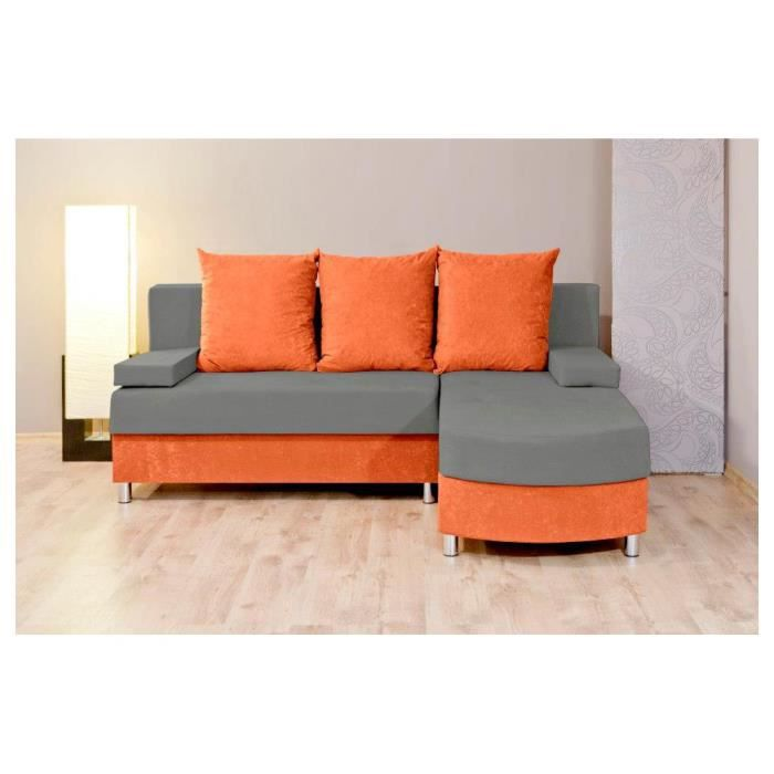 Justhome helios canap d 39 angle l x l 175 x 200 cm - Canape d angle orange ...