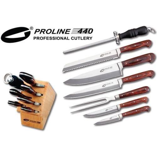 6 couteaux de cuisine pro line fusil a aiguiser achat for Aiguiser couteau cuisine