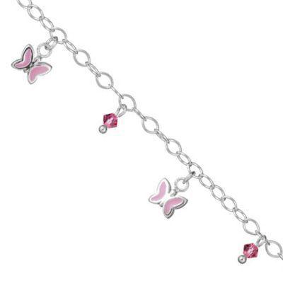 bracelet enfant 16 cm papillon perle rose argent achat vente bracelet gourmette so chic. Black Bedroom Furniture Sets. Home Design Ideas