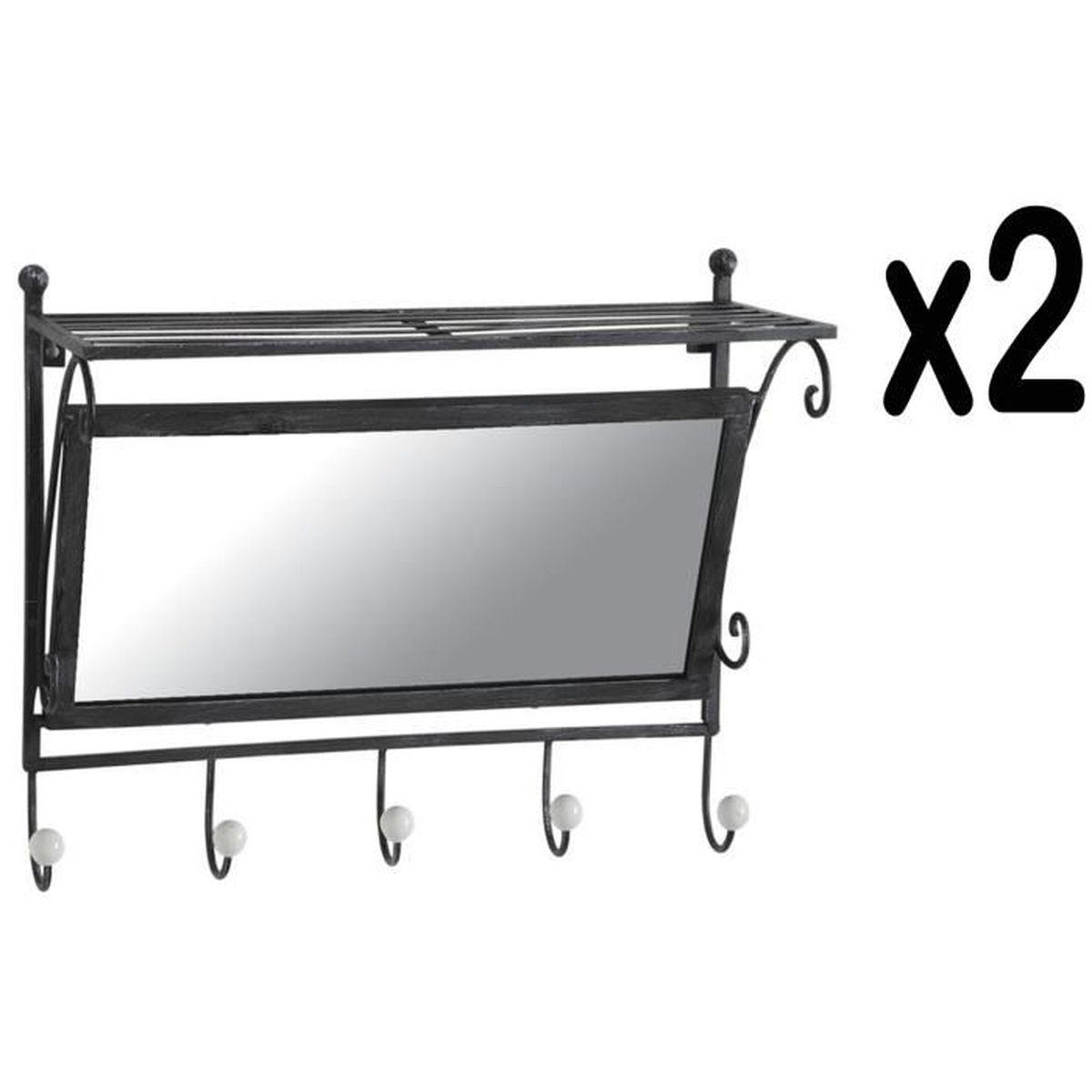 Lot de 2 pat res en m tal vieilli avec 5 crochets et miroir achat vente pat re cdiscount for Miroir metal vieilli