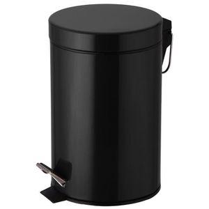 poubelle corbeille poubelle 3 litres noire pdale idal - Poubelle Salle De Bain Noir