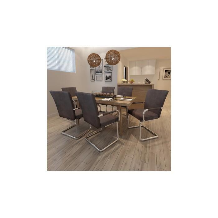 Ensemble de 6 chaises de salle manger marron achat for Ensemble de salle a manger