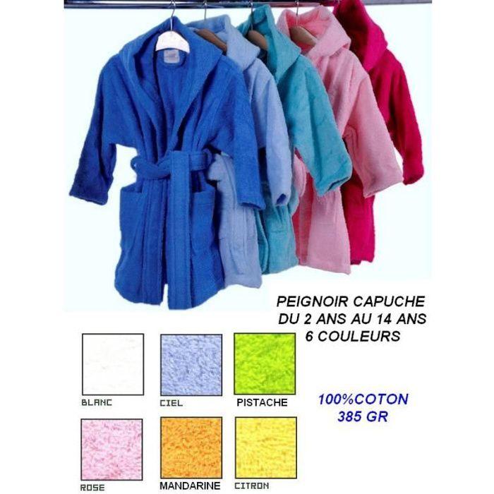 peignoir capuche enfant 350gr 6 couleurs orange achat vente peignoir cdiscount. Black Bedroom Furniture Sets. Home Design Ideas