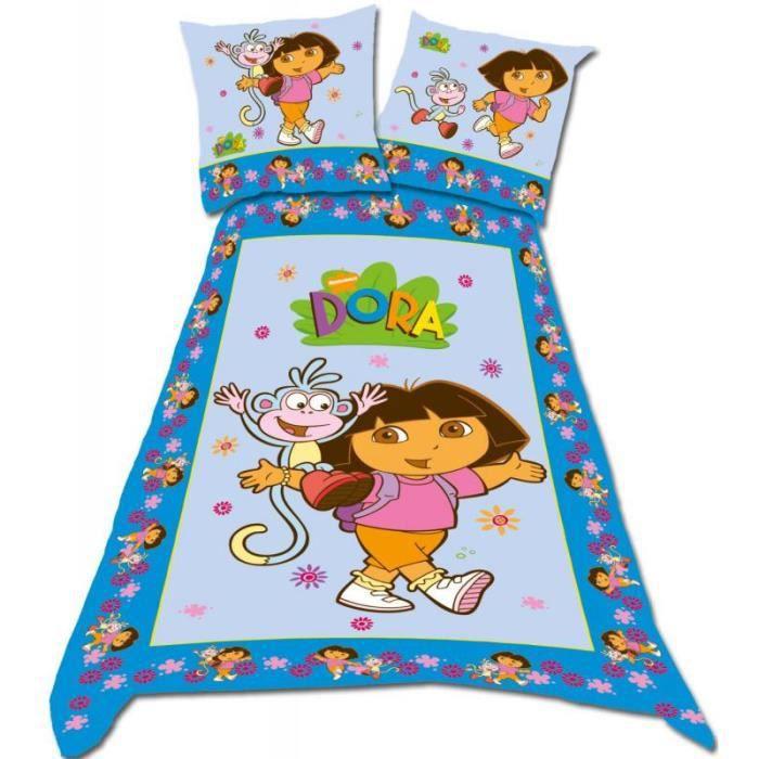 parure de lit enfant 1 place dora achat vente parure. Black Bedroom Furniture Sets. Home Design Ideas