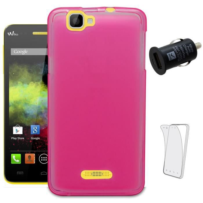 Housse rose pour wiko rainbow 1 chargeur voiture 3 for Housse voiture rose