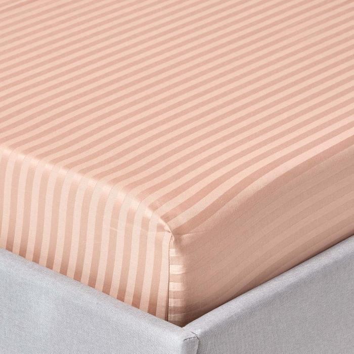 drap housse ray 90 x 190 cm 100 coton gyptien 330 fils coloris taupe achat vente drap. Black Bedroom Furniture Sets. Home Design Ideas