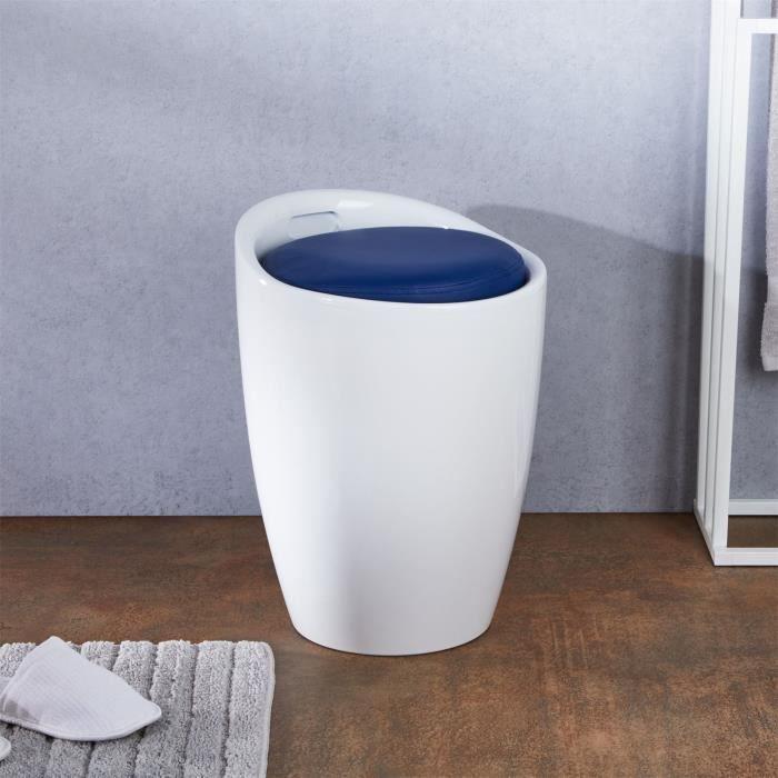 Tabouret coffre rangement blanc bleu Achat Vente