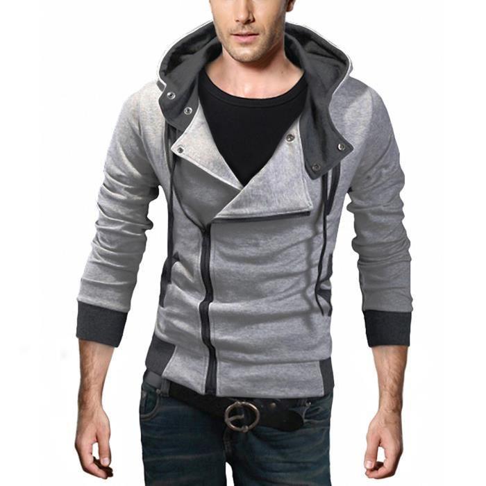 zip manteau blouson avec capuche homme gris gris achat vente veste cdiscount. Black Bedroom Furniture Sets. Home Design Ideas