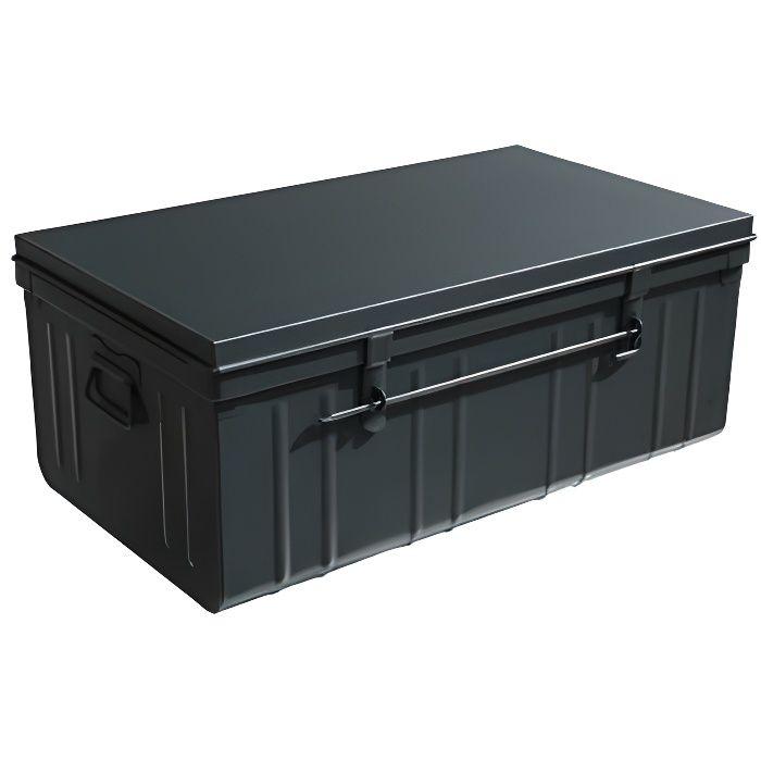 malle m tallique noire malle m tallique achat vente malle m tallique noire soldes cdiscount. Black Bedroom Furniture Sets. Home Design Ideas