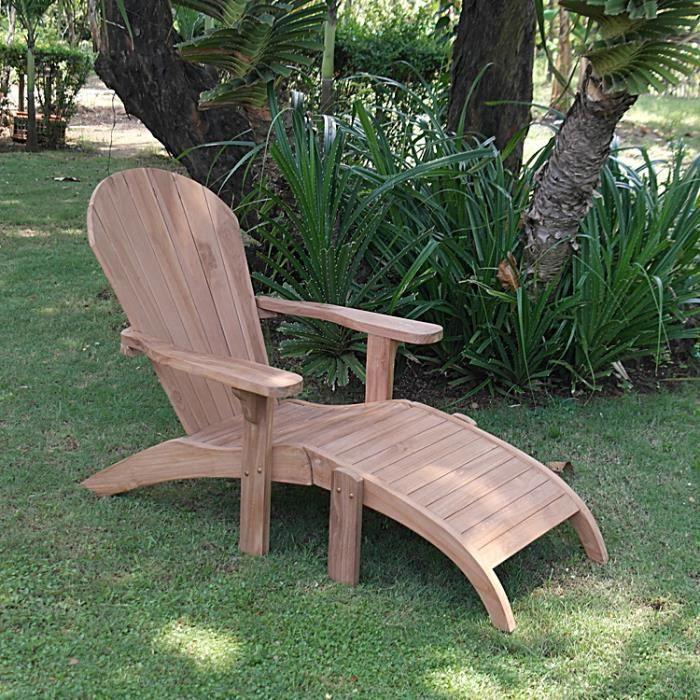 Adirondack en teck achat vente chaise longue transat for Chaise longue en teck