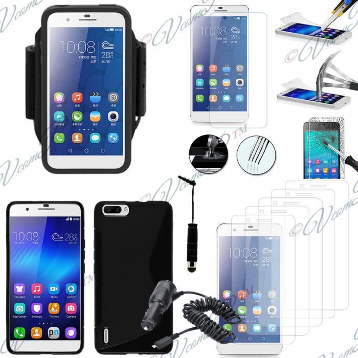 Pour huawei honor 6 plus honor 6x noir lot coque etui for Housse honor 6x