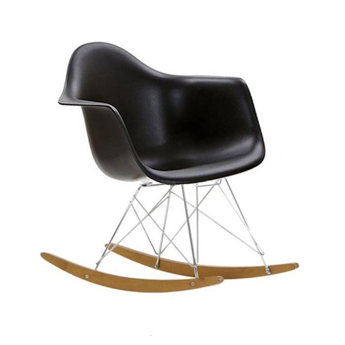 fauteuil bascule style rar noir achat vente fauteuil noir abs plastique renforc cdiscount. Black Bedroom Furniture Sets. Home Design Ideas