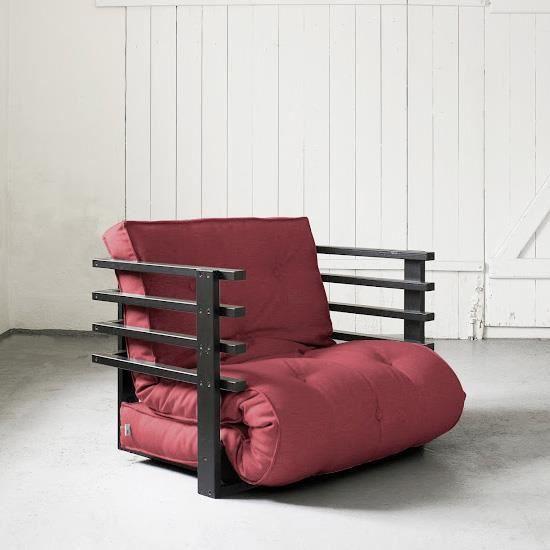 Fauteuil convertible funk 80 noir futon bordeaux achat vente fauteuil boi - Fauteuil futon convertible ...