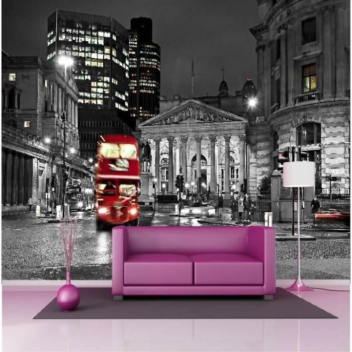 Stickers muraux géant déco  Londres Noir et blanc Bus rouge Dimensions , 367x250cm