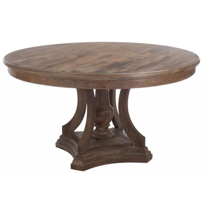 Table a manger ronde bois marron 150x80cm marron achat for Table a manger ronde bois