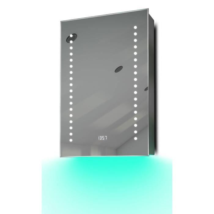 armoire de toilette anti bu e avec capteur prise rasoir et horloge k381t gris taille h 600mm. Black Bedroom Furniture Sets. Home Design Ideas