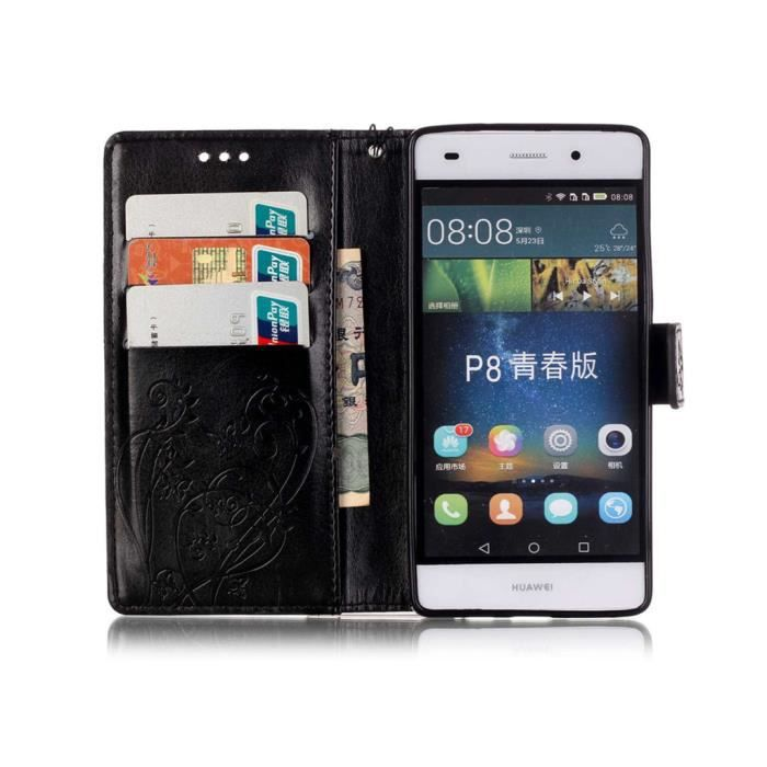 huawei p8 lite housse avec support pu cuir portefeuille tui silicone coussin folio housse. Black Bedroom Furniture Sets. Home Design Ideas