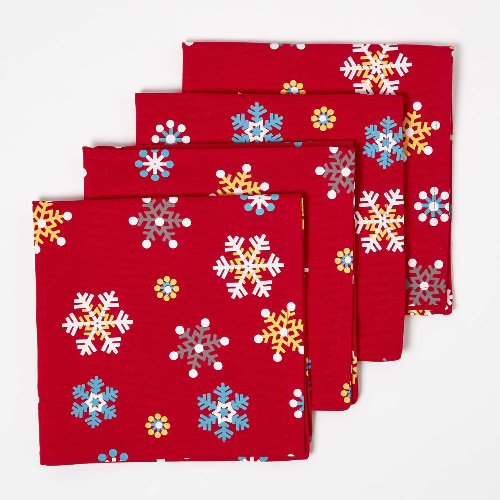 Lot de 4 serviettes de table flocons de neige rouge achat vente serviette - Cdiscount linge de maison ...