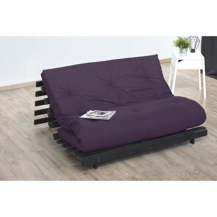 matelas futon 140x190 aubergine 5 couches de ouate 1300g m equilibr et ferme 3332990121135. Black Bedroom Furniture Sets. Home Design Ideas
