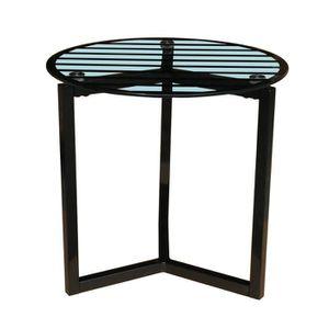 PEDRO Table basse - Pi?tement en acier laqué époxy noir et plateau en verre trempé 6 cm sérigraphié coloris clair - Style et design contemporain - Dimensions totales : l 40 x L 40 x H 39 cm.