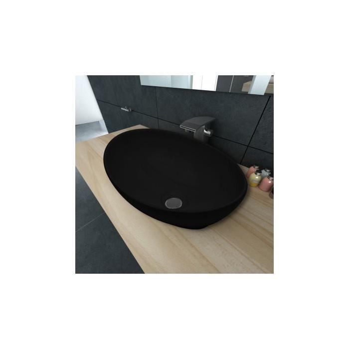 luxueuse vasque poser en c ramique ovale noire 40 x 33. Black Bedroom Furniture Sets. Home Design Ideas