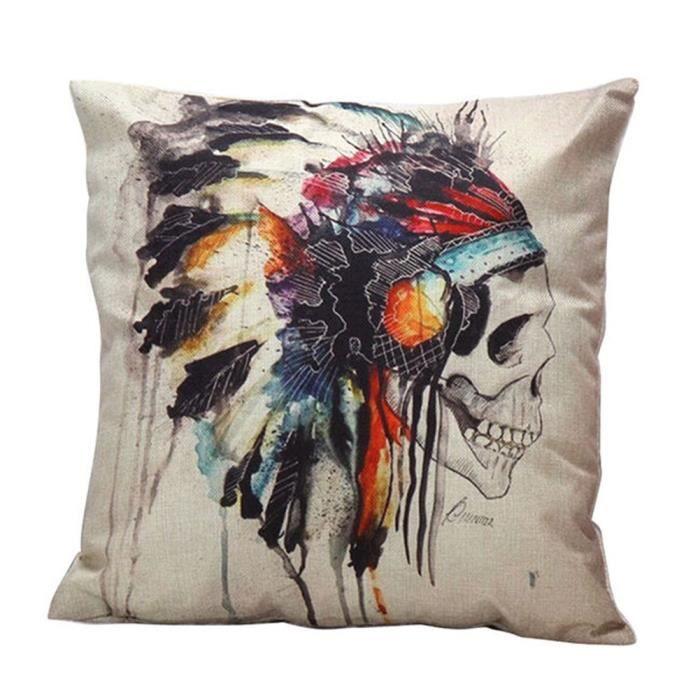 taie d 39 oreiller housse de coussin pillowcase lin composite d coration lit canap cr ne indienne. Black Bedroom Furniture Sets. Home Design Ideas