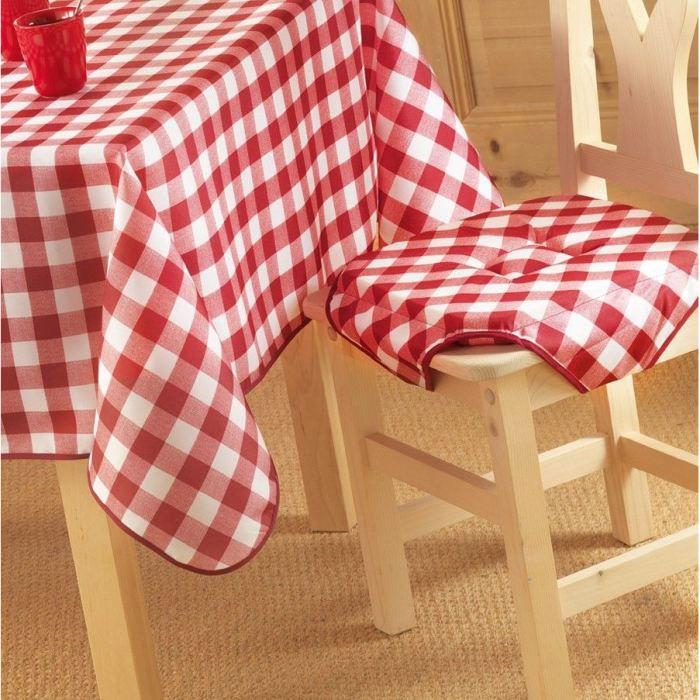 Galette de chaise 35 x 35 cm natis carreaux vic achat - Galette de chaise rectangulaire ...