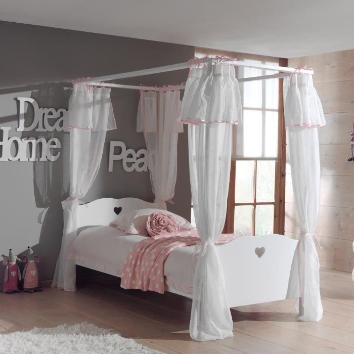 lit baldaquin 90x200cm rideau coloris blanc achat vente lit a baldaquin lit baldaquin. Black Bedroom Furniture Sets. Home Design Ideas