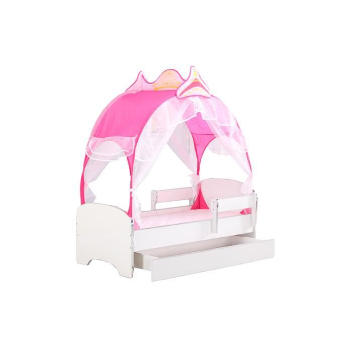 lit enfant avec tente de princesse rose barri re anti chutes matelas sommier achat. Black Bedroom Furniture Sets. Home Design Ideas