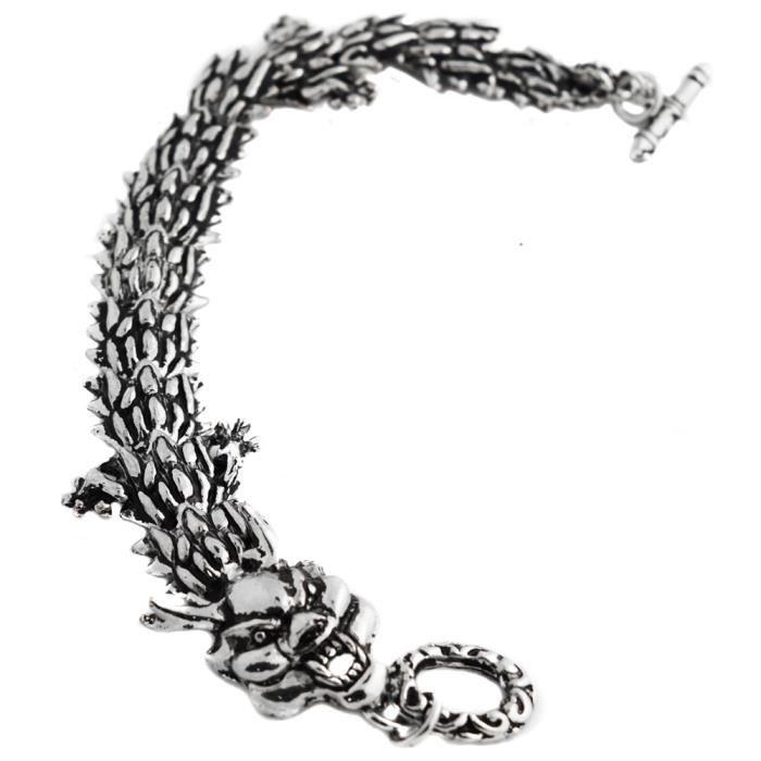 bracelet viking dragon squelette acier chaine gourmette couleur noir argent noir achat vente. Black Bedroom Furniture Sets. Home Design Ideas