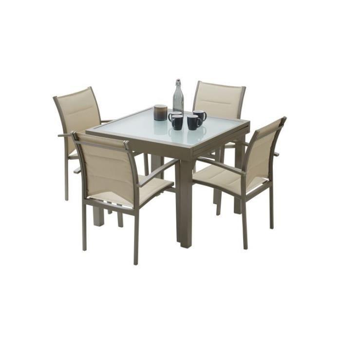 Salon de jardin avec rallonge modulo 4 fauteuils taupe for Salon 4 fauteuils