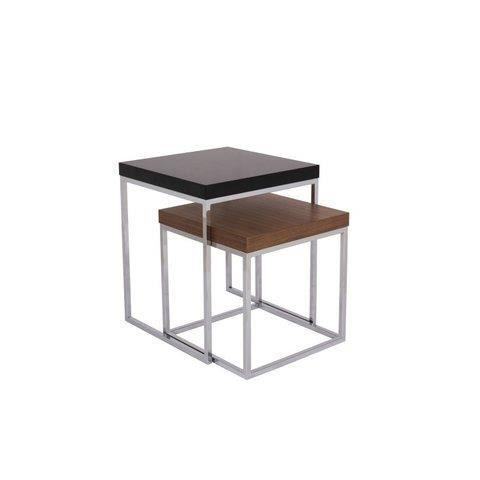 Table basse double prairie petit plateau noyer for Table basse scandinave double plateau