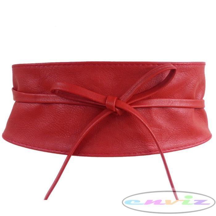 ceinture large a nouer faux cuir pour femme rouge achat vente ceinture et boucle. Black Bedroom Furniture Sets. Home Design Ideas